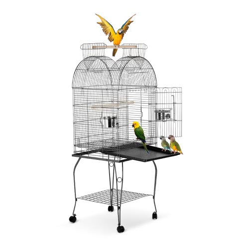 IKayaa Wrounght Iron Bird Parrot Cage Play Top Arbarde Cockatoo Parakeet Conure Finch Cage + Stainless Steel Bowl & Lockable Wheels