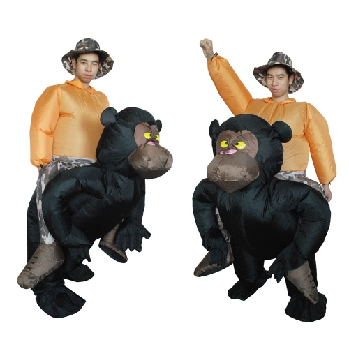 Anself Cute Adult Inflatable Chimpanzee Costume Suit Blow Up Fancy Dress Festival Party Inflatable Black Orangutan Outfit Jumpsuit Lovely Inflatable Animal Costume For Men Women