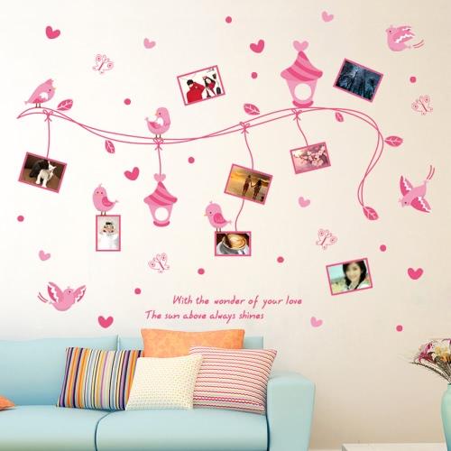 Романтические сердца и рамка для фотографий Стикер стены Съемные милые розовые картины искусство деколь комнаты Многоразовые обои фото наклейки стены