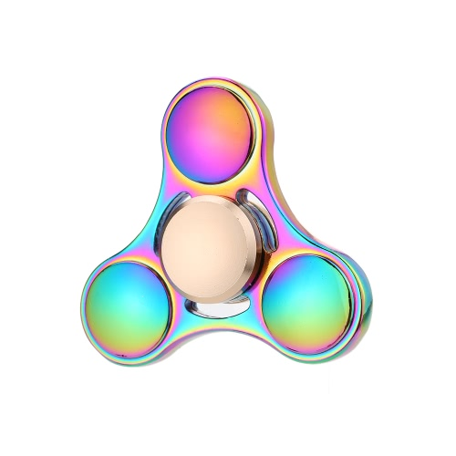 Colorful Metal Hand Fidget Tri Spinner Finger Focus Tool Desk Toy Spin Widget for ADHD Children Adults Relieve Stress Anxiety Constant Spinning Lasting for Longer Time