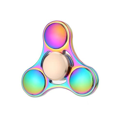 Bunte Metall Hand Fidget Tri Spinner Finger Focus Werkzeug Schreibtisch Spielzeug Spin Widget für ADHS Kinder Erwachsene Entlastung Stress Angst Konstante Spinnerei dauerhaft für längere Zeit