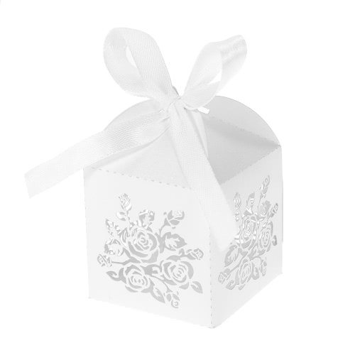 50pcs/set Mini Laser Cut Hollow Wedding Favor Box Candy Boxes White Pearl Paper Gift Box with Ribbons for Party Banquet