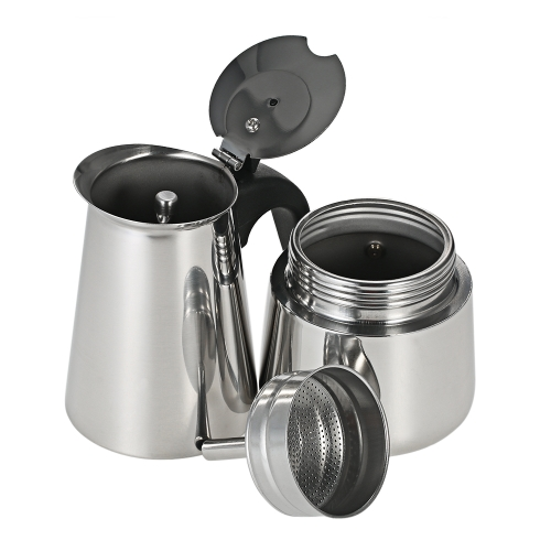 Decdeal 300ml 6-Cup Stainless Steel Espresso Percolator Coffee Stovetop Maker Mocha Pot for Use on Gas or Electric Stove
