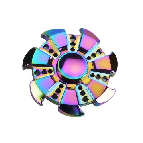 Forme de roue Rond Fidget Spinner pour AJOUTER ADHD Anxiété Autisme Enfant pour adultes Jouet à main pour doigts Gyro Nouvelle pochette de bureau Relief Stress Anxiety Metal Zinc Alloy Rainbow Color