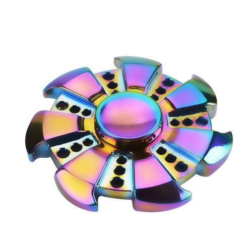 Wheel Shape Round Fidget Spinner for ADD ADHD Anxiety Autism Adult Children Finger Hand Toy Gyro New Desk Pocket Relieve Stress Anxiety Metal Zinc Alloy Rainbow Color