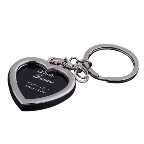 Creative Metal Zinc Alloy Fashion Keychain with Insert Picture Photo Frame Key Ring Holder Heart-shaped Square Keyfob Jewelry Gift