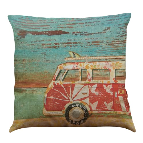 Cartoon Animated Romantic Modern Fashionable Cute Colorful FAW Volkswagen Mini Motorbike Bus Truck Roadster bicycle Recreational Vehicle Caravan Sea Sunshine Designs Patterns Oil Painting Printed Square Cushion Pillowcases Throw Pillow Covers Decorative Gifts for  Children Playroom Bedroom Office Car Seat