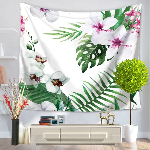 130*150cm Polyester Home Wall Hanging Decor Art Fresh Flowers Floral Plants Tapestry Beach Towel Blanket Picnic Carpet Garden Style Bedspread Tablecloth