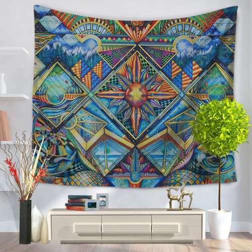 130*150cm Retro Ethnic Style Polyester Tapestry Home Wall Hanging Decor Art Sandy Beach Towel Yoga Mat Blanket Tablecloth Bedspread