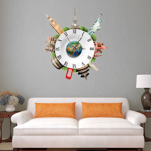 17.7 * 15.7'' DIY Removable 3D Wall Clock Sticker Quartz Movement Wall Decortive Stickers Living Room Bedroom Decal Decor