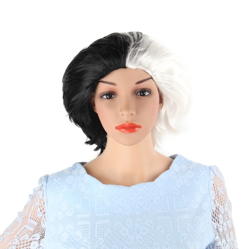 Adults Kids Black and White Short Wig Full Head Synthetic Wigs for Halloween Cosplay Costume Party
