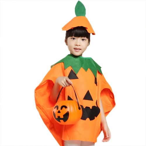 Unisex Kids Orange Pumpkin Shirt Clothing with Hat Halloween Masquerade Party Costume Role Play Suit
