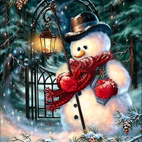 Hecho a mano de diamantes casa de decoración de la pared de la pintura de muñeco de nieve de Navidad patrón de pintura de diamante 5d