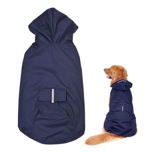 Reflective Pet Dog Rain Coat Raincoat Rainwear with Leash Hole for Medium Large Dogs