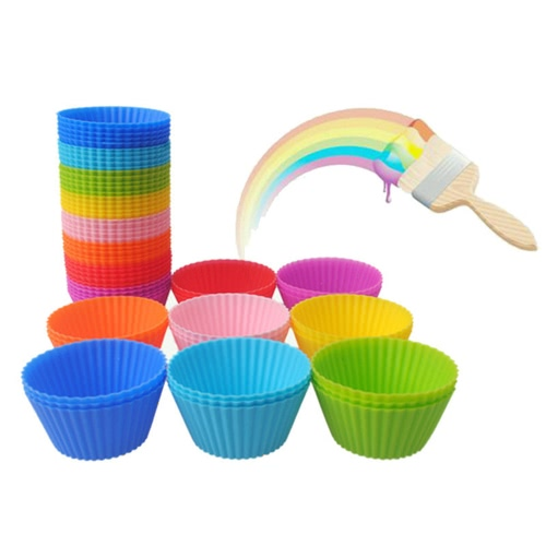 12pcs Silicone Muffin Cups Cake Mould Round Shape Mixed Color Cupcake Liner Baking