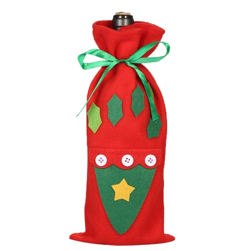 Christmas Wine Bottle Cover Bag X'mas Gift Candy Bag with Stain Ribbons Christmas Party Decorations Oranments