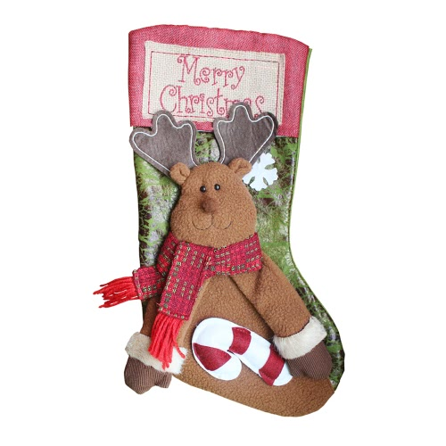 Merry Christmas Hanging Stockings Gift Candy Bag Christmas Decoartions Ornaments--Reindeer