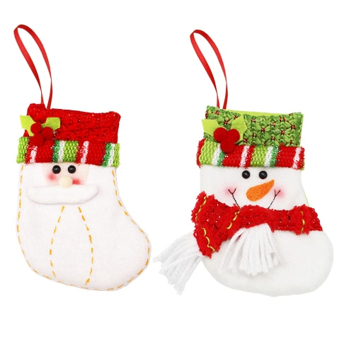 6pcs/set Christmas Hanging Stockings Santa Snowman Gift Candy Bags Christmas Tree Decoartions Ornaments