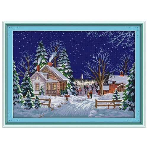 Decdeal DIY Handmade Needlework Cross Stitch Set 54 * 41cm Broderie Kit 14CT Printed Cross-Stitching Home Decoration