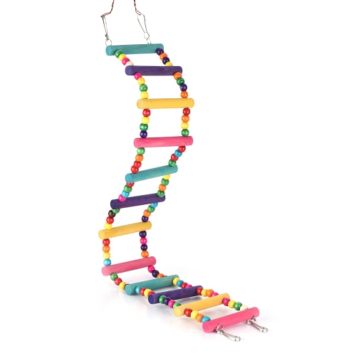 8-step 16inch Colorful Bird Ladder Parrot Chewing Toy Birdcage Training Swing Rainbow Bridge