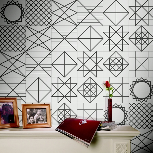 196 * 8 inches PVC Waterproof Self-adhesive 3D Black White Tile Wallpaper Roll Wall Floor Contact Paper Stickers Covering Decal Home Decor