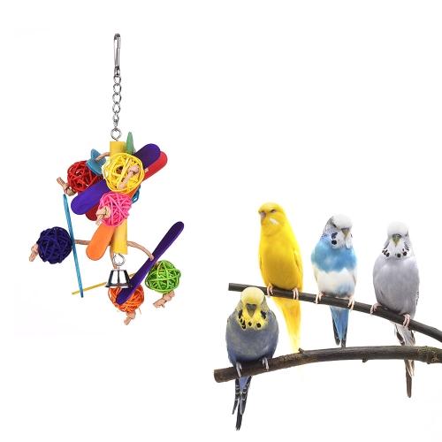 Bild von Farbe Vogel Spielzeug Käfig Zubehör Kauen Spielzeug Beißen Schaukel Hängen Spielzeug mit Glocke für Papagei