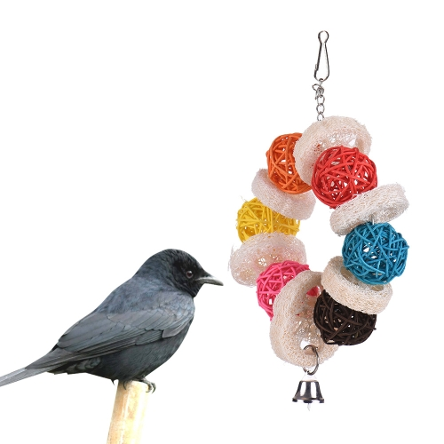 Image of Parrot Toys Hanging Chew Bite Swing Foraging Toys with Bell for Bird Cage Accessories Towel Gourd