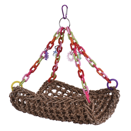 Natural Bird Nest Hammock Color Parrot Hanging Swing Chew Toy Bird Cage Accessories for Parakeet Budgie Macaw Cockatoo