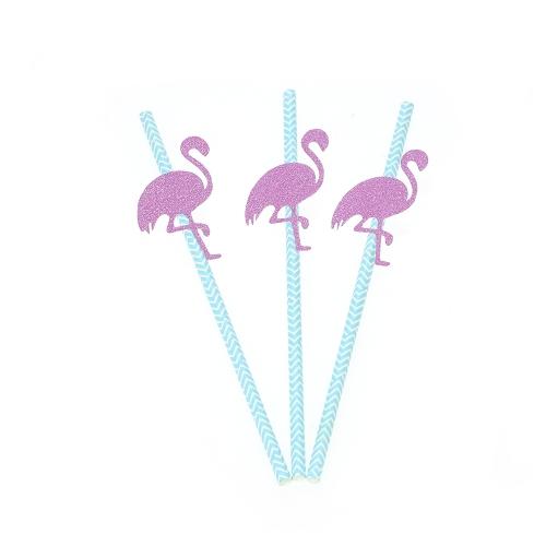 50pcs / set Glitter Color Одноразовая бумага Питьевая солома на день рождения Свадебный плавательный бассейн Украшения для вечеринок Поставки - Высокий каблук