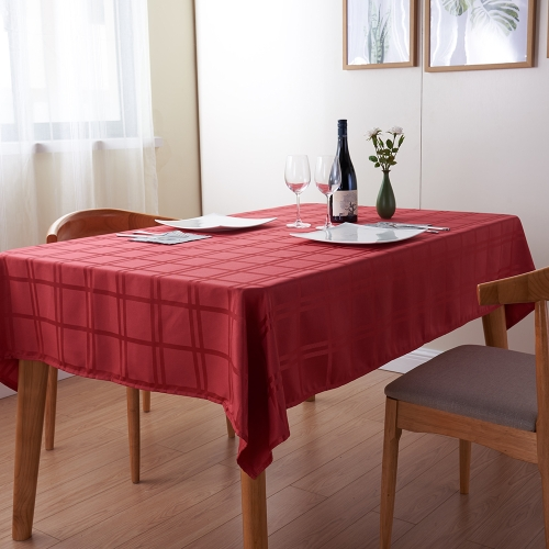 Htovila 87 * 61'' Red Large Rectangle Checkered Pattern Dinner Tablecloth Polyester Thick Table Linen Cover Cloth for Wedding Party Home Festivals Events