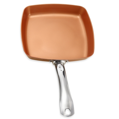 Copper-colored Nonstick Aluminium Square Fry Pan Kitchen Chef Tool Heat Proof