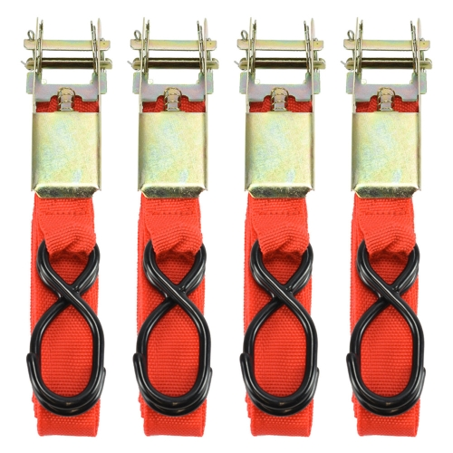 4pcs 15in Ratchet Tie Down Cargo Lashing Trailer Packing Luggage Straps Moving Hauling Truck Motorcycle with Soft Loops S Hook Buckle Metal