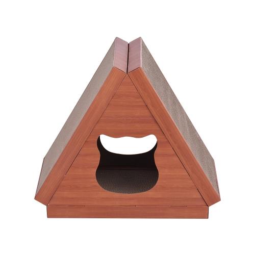 Le grattoir escamotable de Chambre de chat de triangle joue le carton ondulé pour le chaton