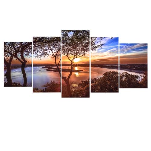 HD Imprimé 5-Panneau Sans Cadre Coucher de Soleil Paysage Motif Toile Peinture Mur Art Modulaire Photos Décor pour Maison Salon Chambre