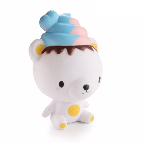Lindo Oso de Helado de Dibujos Animados Lento Levantamiento Squishy Niños Diversión Alivio del Estrés Juguete Divertido Regalo Correas de teléfono Reliefing Doll Home Party Decoration