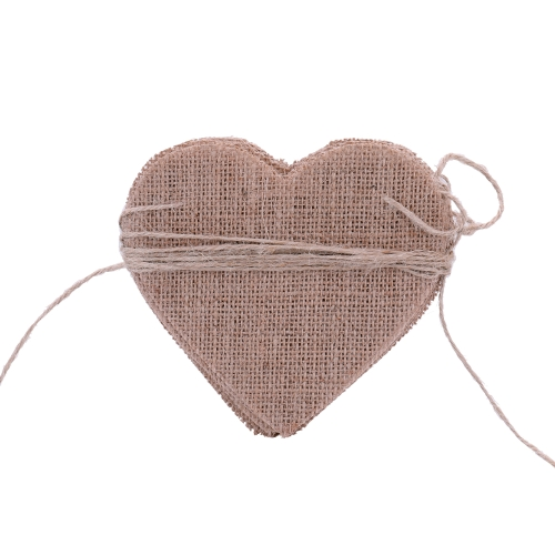 15pcs bricolaje Banner de arpillera para el día de San Valentín Boda y adornos de fiesta en forma de corazón Decorarion paño de lino