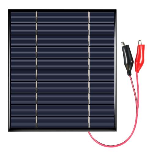 El panel solar del silicio policristalino de 2.5W 5V con la célula solar de los clips de cocodrilo para el cargador del poder de DIY
