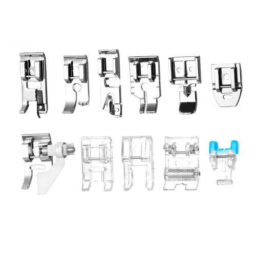 11pcs máquina de coser doméstica profesional Presser Foot Set Hem cremallera Foot repuestos accesorios para el cantante Feiyue Janome Brother