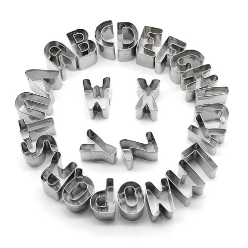 26шт из нержавеющей стали Алфавит Письма Печенье Cutters DIY 3D Печенье Формы Мини A-Z Shaped Mold Decorating Tool Bakware Kitchen Fondant Decoration Tools фото