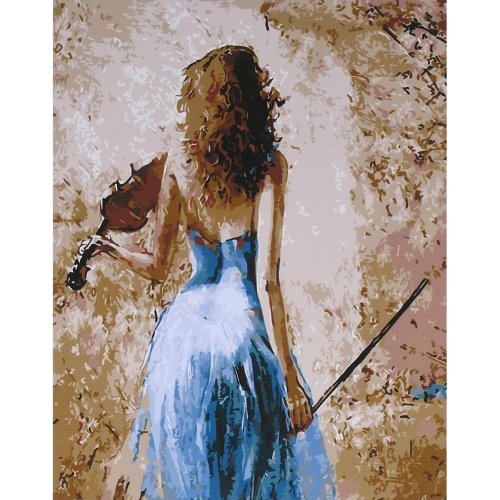 Без рамки DIY Digital Oil Painting 16 * 20 '' Lady with Violin Hand-Painted Cotton Canvas Paint by Number Kit Домашний офис Wall Art Картины Декорация
