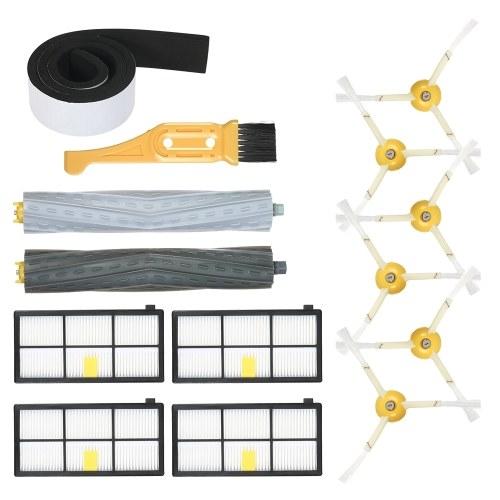 Комплект из 14 комплектов запасных частей для iRobot Roomba 800 и 900 Series 805 860 861 864 866 870 880 890 891 894 960 961 964 966 980 Пылесос - Щеточка для удаления мусора без щеки + боковая кисть + фильтр HEPA + бампер