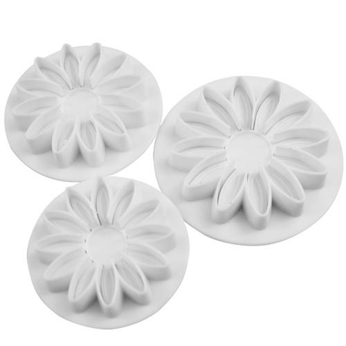 3PCS Подсолнечник Fondant Mold Весна Die Пластиковые сахара Торты Печеные печенья Печенья Украшение Инструменты для моделирования Кухонные гаджеты