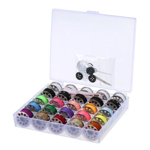 15pcs Mixed Colors Bobbins + 5pcs White Bobbins + 5pcs Black Bobbins Thread Bobbins Sewing Accessories Supplies Kit
