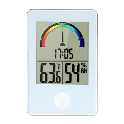Mini LCD Цифровой закрытый термометр Гигрометр 12H / 24H Время ° C / ° F Температура Влажность Комфорт Индикатор Дисплей Монитор-датчик Термогигрометр с задней подставкой