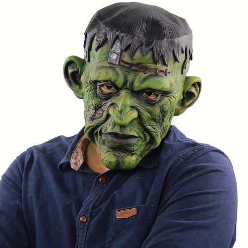 Latex Full Head Scary Green Face Man Maska Horror Creepy Monster Mask