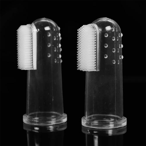 2Pcs Безопасная мягкая силиконовая детская зубная щетка для пальцев