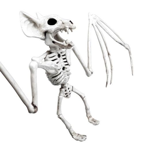 Esqueleto de dia das bruxas pendurado osso de morcego