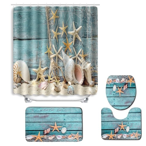 4pcs/set Summer Beach Conch Starfish Printed Pattern Bathroom Decoration Water-resistant Shower Curtain Pedestal Rug Lid Toilet Cover Mat Non-slip Bath Mat Set