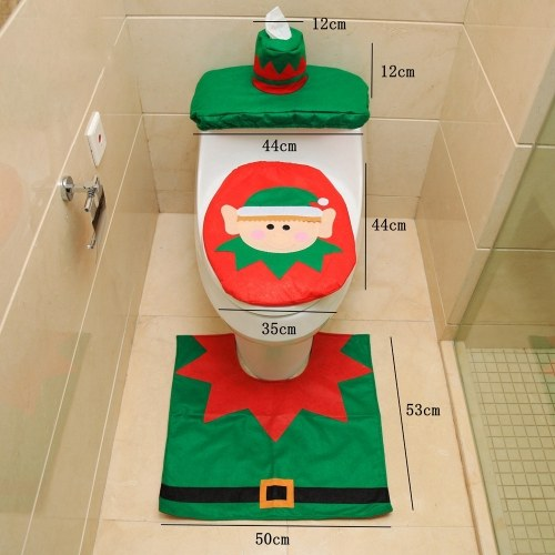 Christmas Bathroom Decorations Santa Toilet Seat Cover and Rug Foot Pad Set