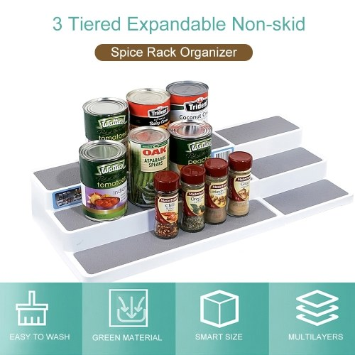 3 Tiered Expandable Spice Rack Organizer Non-skid Pantry Organizer and Storage for Kitchen Refrigerator Bathroom Craft Room